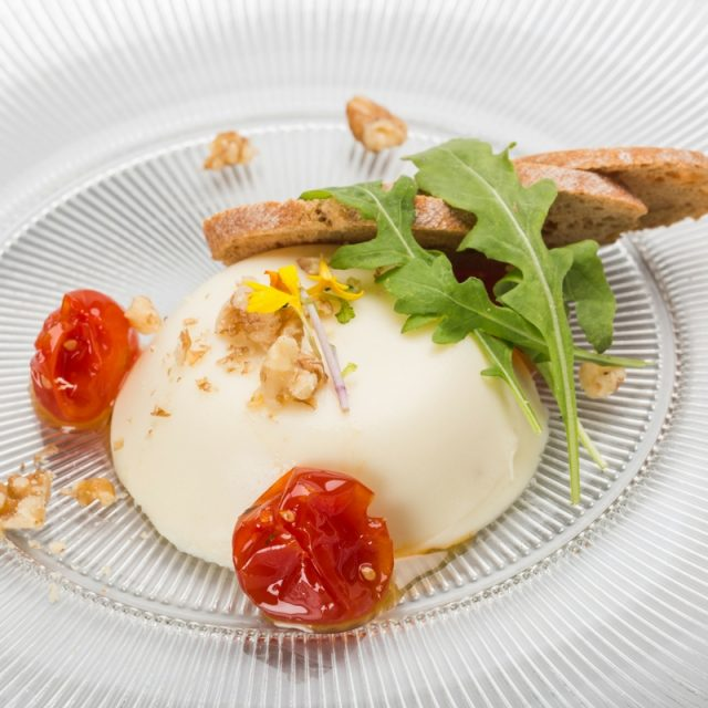Idiazabal cheese panna cotta with cherry tomato jam and crunchy toast
